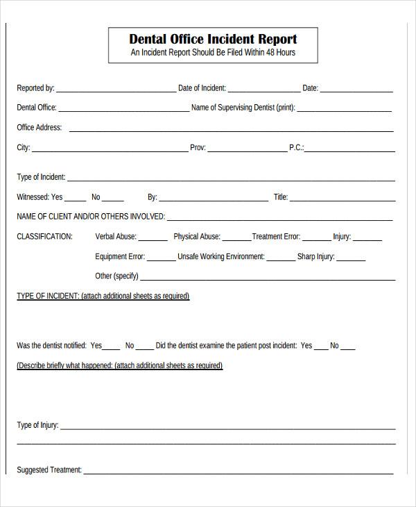 dental incident report form - Josemulinohouse - incident report templates