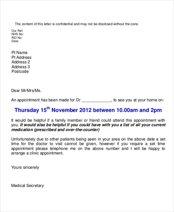 10+ Doctor Appointment Letter Templates - DOC, PDF Free  Premium