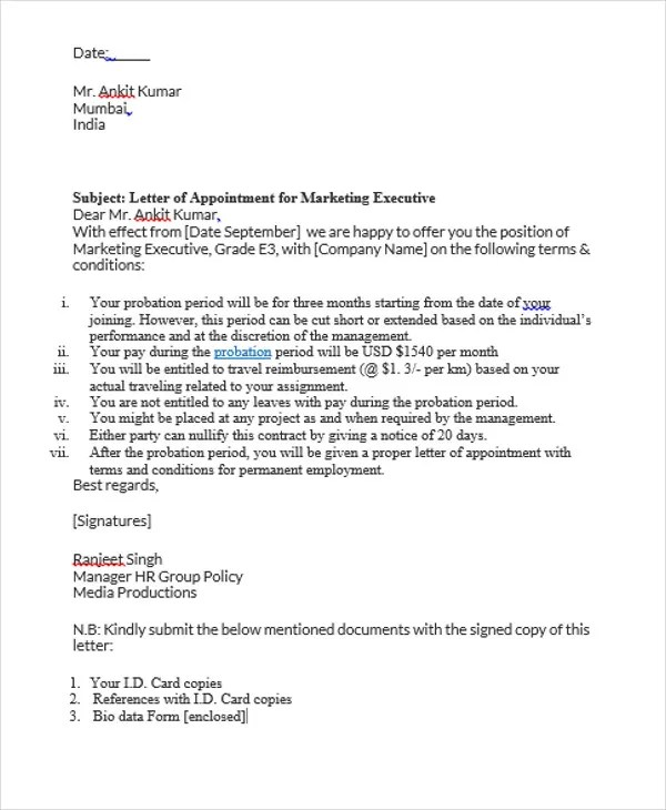 8+ Job Appointment Letter Templates - Free Samples, Examples Format