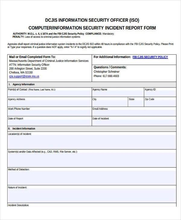 write security incident report - Goalgoodwinmetals