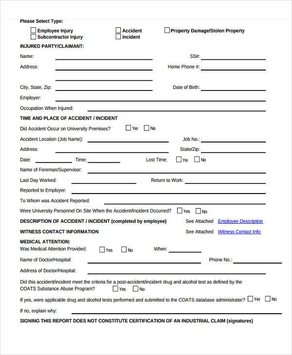 30+ Incident Report Samples - Word, PDF Free  Premium Templates