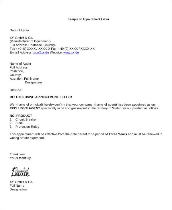 11+ Business Appointment Letter Template - Free Sample, Example
