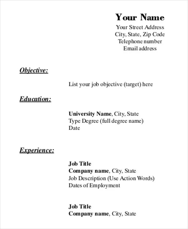 Printable Resume Template - 35+ Free Word, PDF Documents Download - printable resume forms