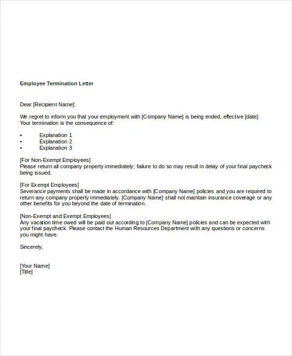 company termination letter 103 Company termination letter getjob – Employee Termination Letter Template Free