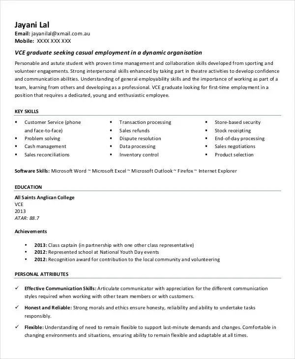 resume no experience format