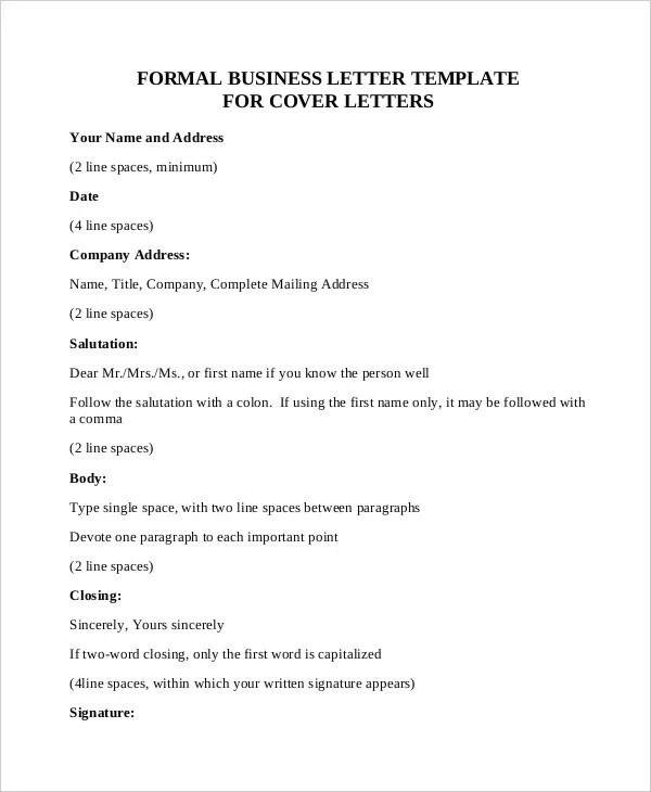 Formal Letter Sample Template - 70+ Free Word, PDF Documents