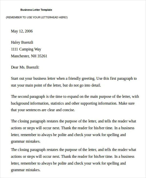 32+ Business Letter Template Free  Premium Templates