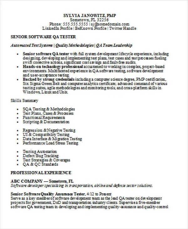 Software Testing Resume Format For Experienced - Resume Template Ideas
