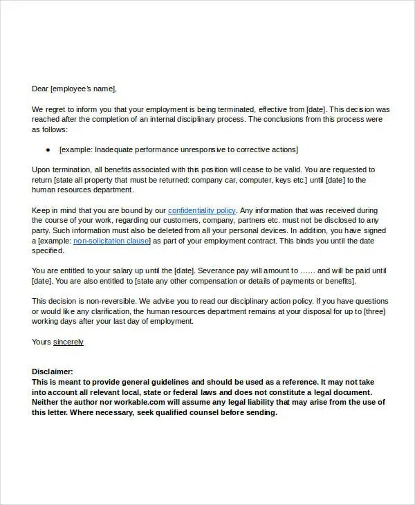 Termination Letter Doc Template - 28+ Free Word, PDF Documents - employee termination guide