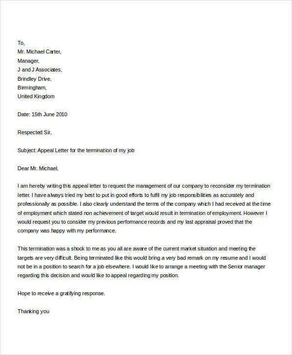 Termination Letter Doc Template - 28+ Free Word, PDF Documents - job termination letter