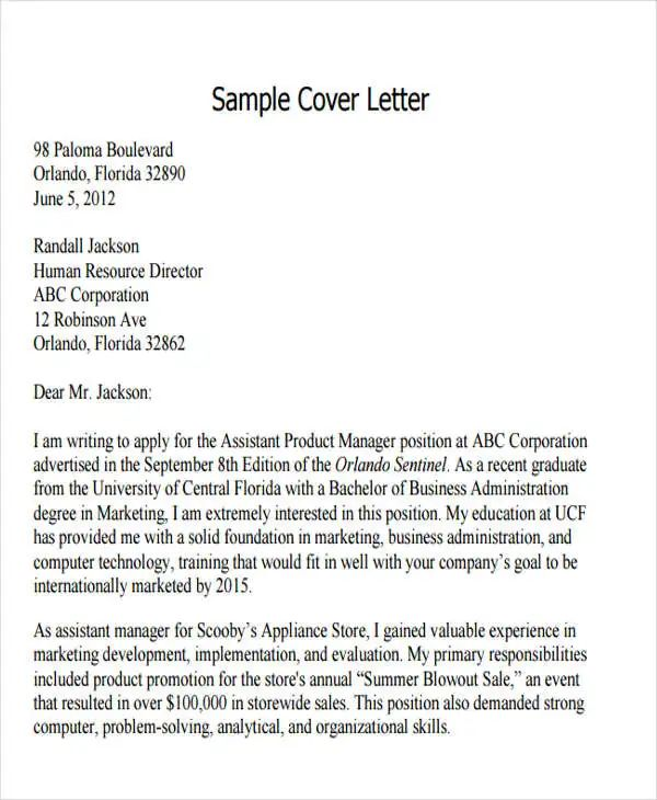 cover letter ucf