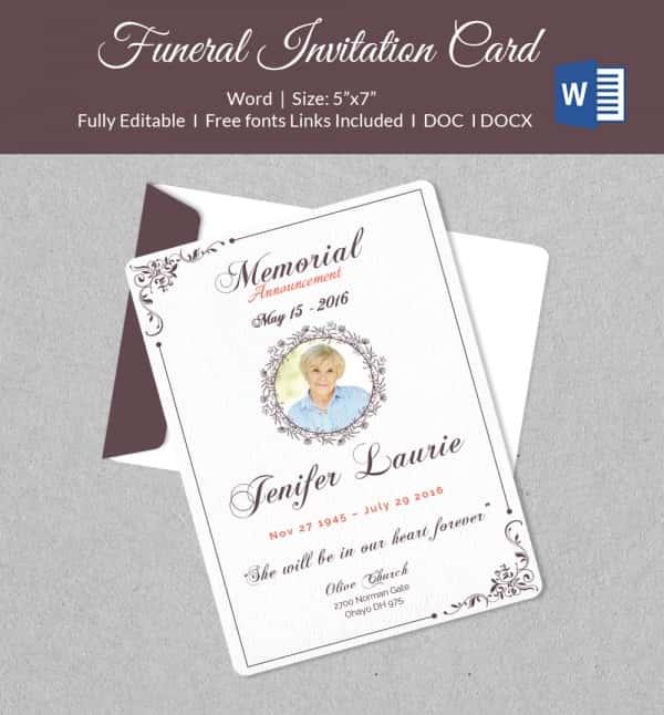 funeral invitation cards 44 Funeral invitation cards templates – Memorial Service Invitation Template