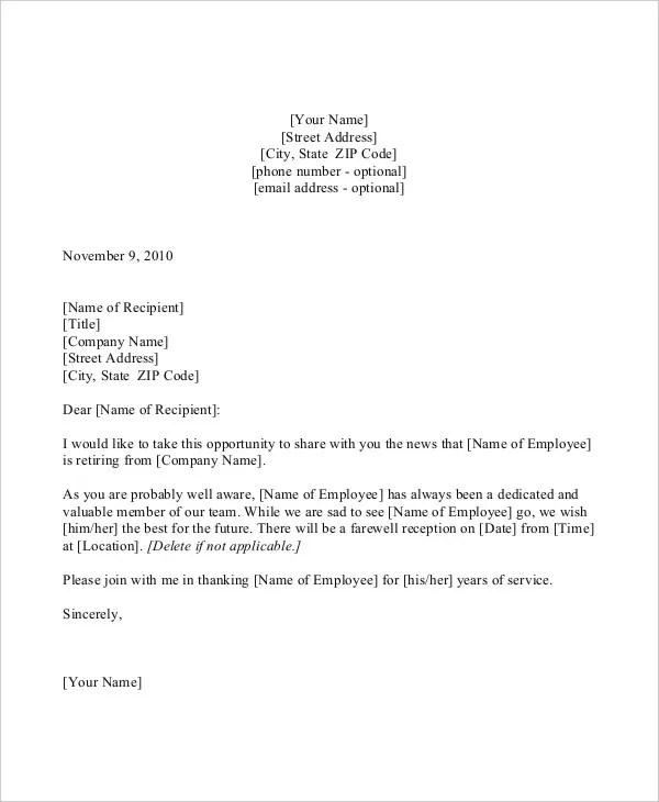 Formal Letter Sample Template 51 Free Word Pdf Documents 63 Announcement