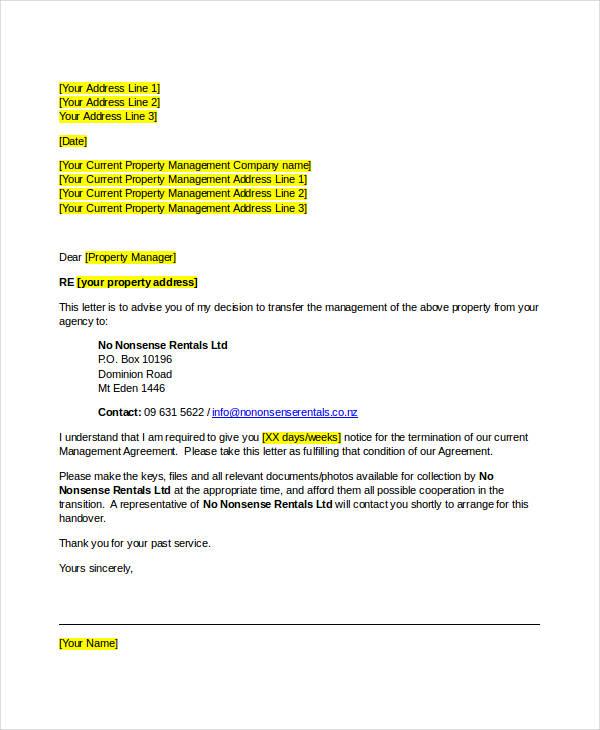 Termination Letter  Management Company Termination Letter - termination letter 2