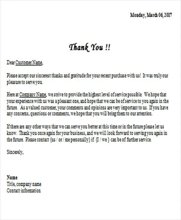 37+ Thank-You Letter in Word Templates Free  Premium Templates