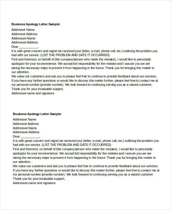 Apology Letter Templates in Word - 31+ Free Word, PDF Documents
