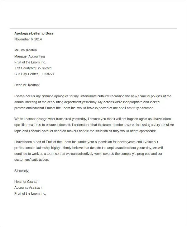 Apology Letter Templates in Word - 31+ Free Word, PDF Documents - letter apologies