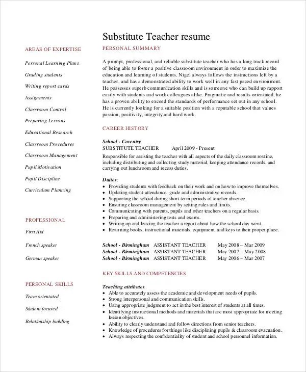 Teacher Resume Examples - 23+ Free Word, PDF Documents Download - example resume teacher