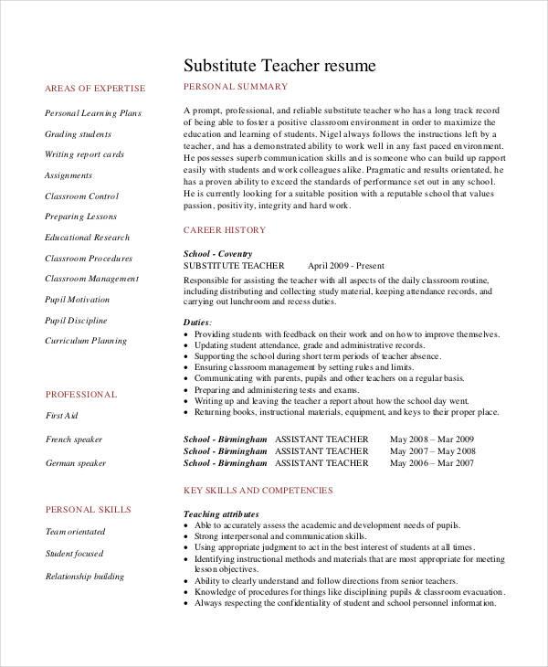resume for teachers sample pdf