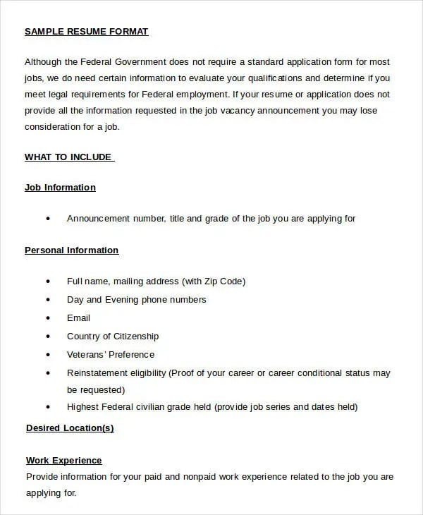 Resume in word Template - 24+ Free Word, PDF Documents Download - Resume Format Word Document