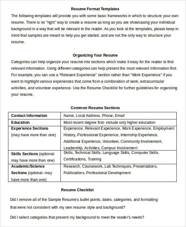 Resume in word Template - 24+ Free Word, PDF Documents Download - Most Common Resume Format