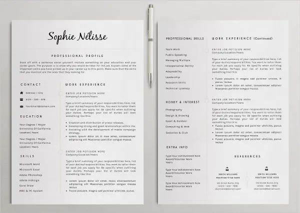 free sample professional resumes template