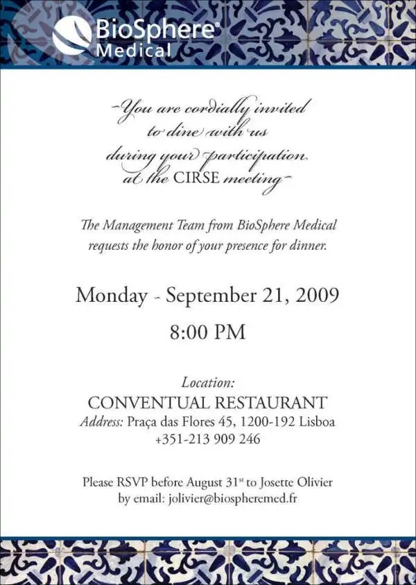 meeting invitation card - Ozilalmanoof - business dinner invitation sample