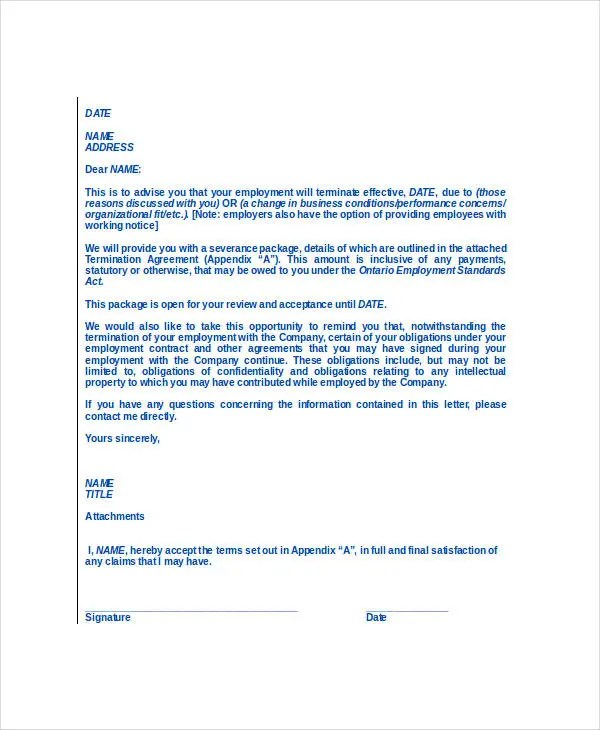 employee termination agreement