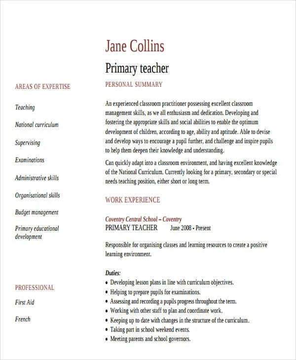 cv format for fresher teacherfresher primary teacher resume