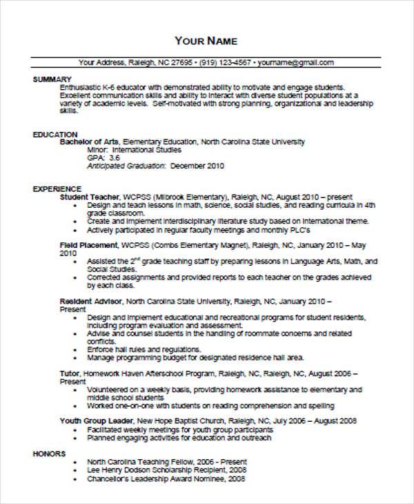 elementary school teacher resume templates