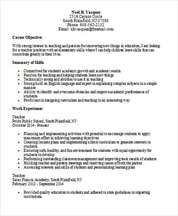 resume examples experienced teacher