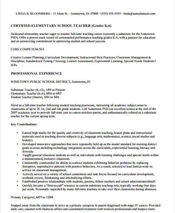 20+ Simple Teacher Resume Templates - PDF, DOC Free  Premium