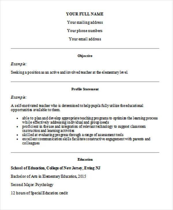 resume no teaching experience