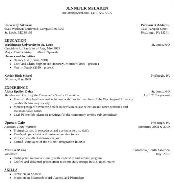 Harvard Medical School Curriculum Vitae Template Entry Level - medical school resume example