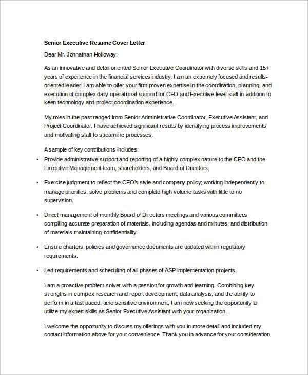 senior executive resume