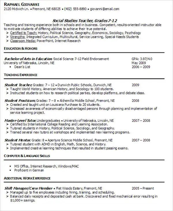 professional teaching resume templates