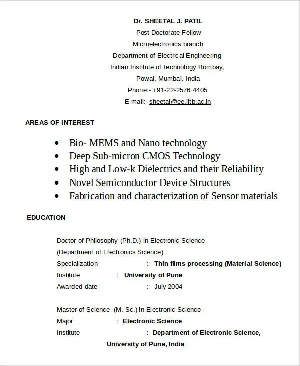Electrical Engineer Resume In Word Format