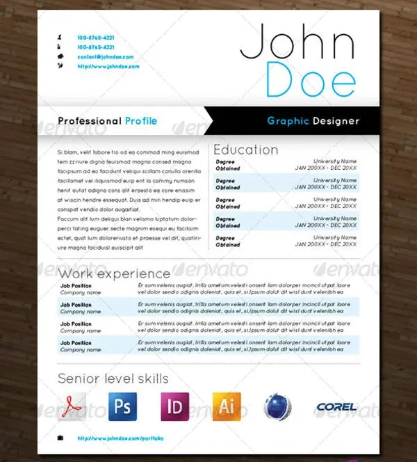 Modern Resume Templates - 42+ Free PSD, Word,PDF Document Download - graphic design resume templates
