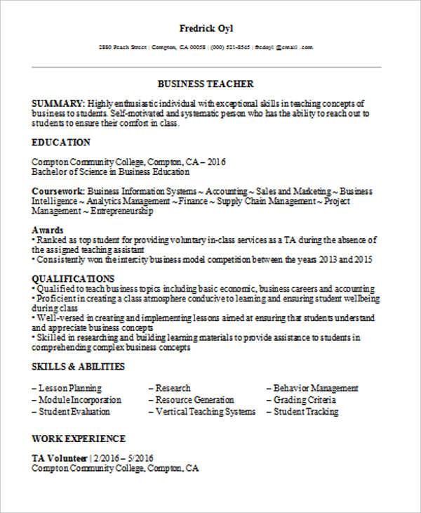 35+ Printable Teacher Resume Templates Free  Premium Templates