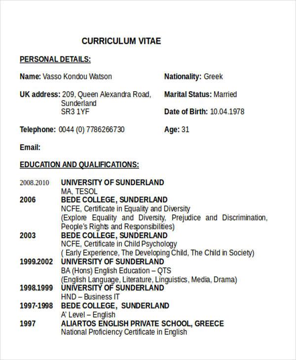 experienced teacher resume samples