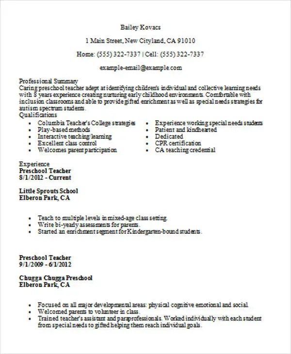 35+ Printable Teacher Resume Templates Free  Premium Templates - inclusion assistant sample resume
