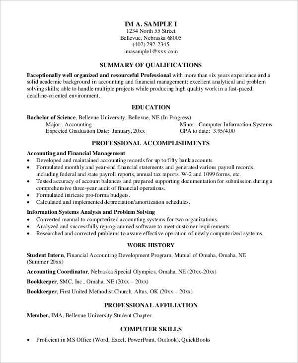 free resume sample for senior accountant