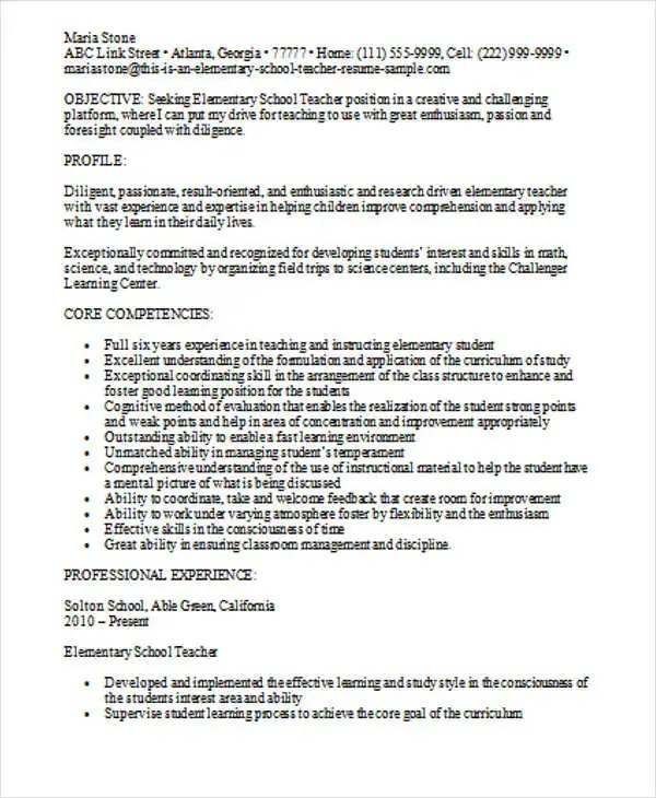 elementary teacher resumes - Josemulinohouse - elementary teacher resumes