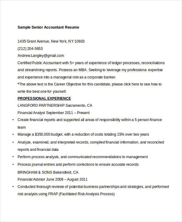 40+ Free Accountant Resume Templates - PDF, DOC Free  Premium