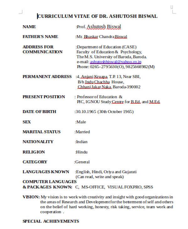 40+ Modern Teacher Resume Templates - PDF, DOC Free  Premium - faculty resume sample