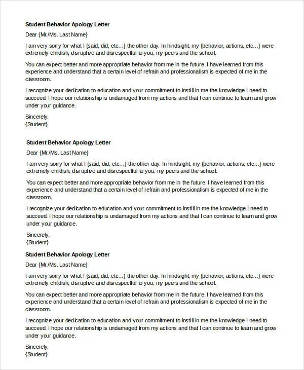 Apology Letter Templates in Word - 31+ Free Word, PDF Documents - apology letter to school