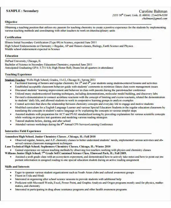 40+ Modern Teacher Resume Templates - PDF, DOC Free  Premium - Teaching Objectives Resume