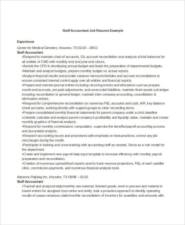 25+ Printable Accountant Resume Templates - PDF, DOC Free - resume examples for accounting jobs