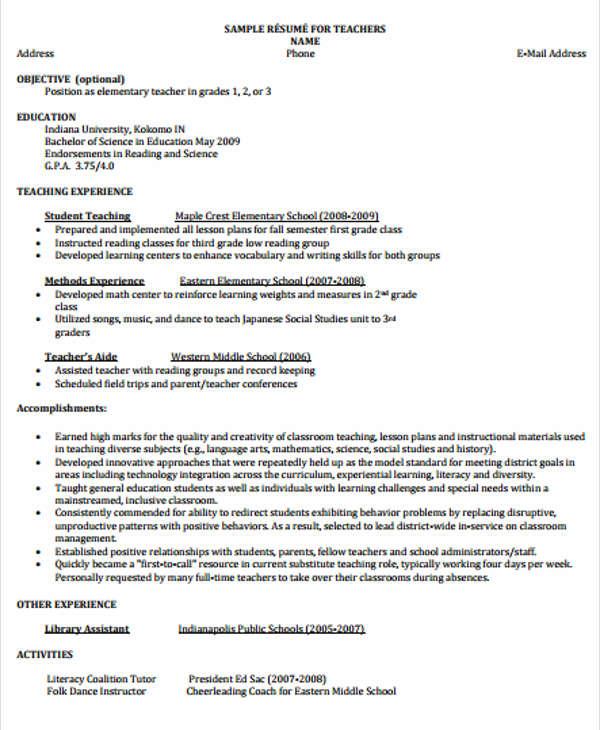 sample objective for teacher resume