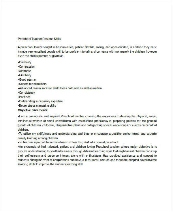 preschool resume sample